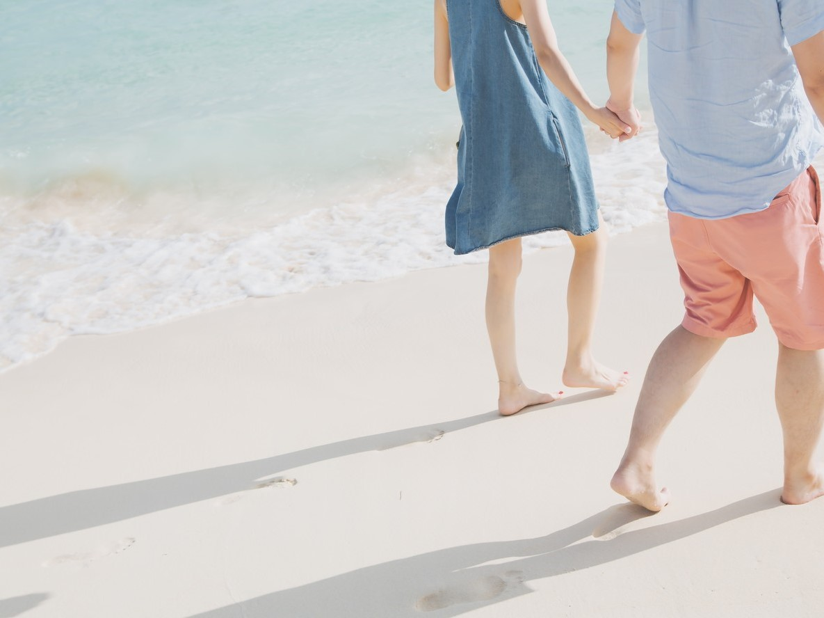 海岸でデート