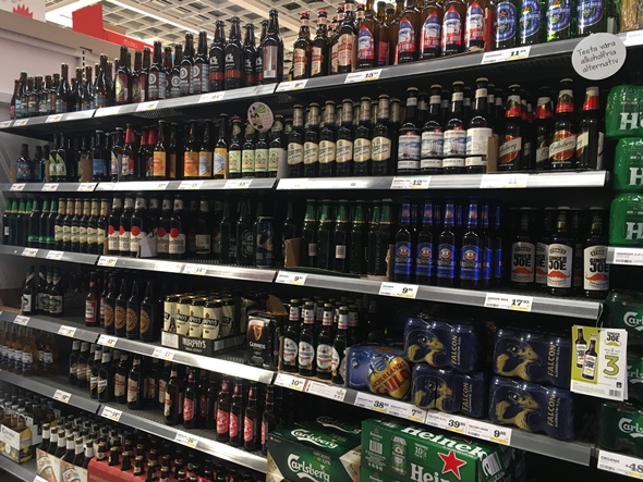 beer cornaer in supermarket in sweden